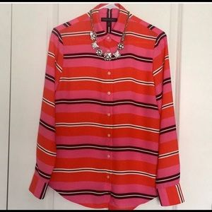 Banana republic sz s red pink striped blouse shirt